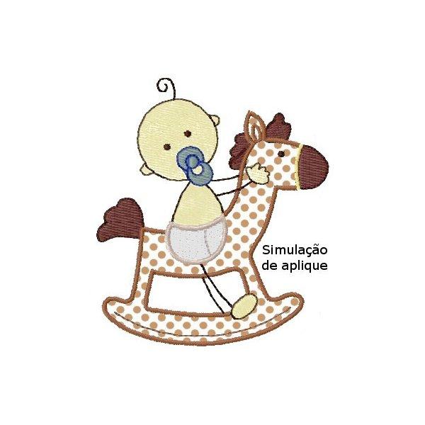 Bebê no Cavalinho Aplique 1