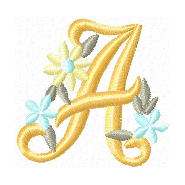 Alfabeto Floral Gold