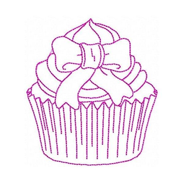 Cupcake Redwork 001