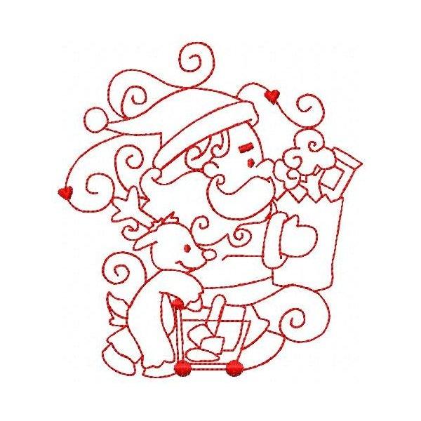 Papai Noel Redwork 002 Grande