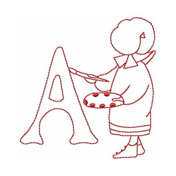 Alfabeto Bonnet Redwork