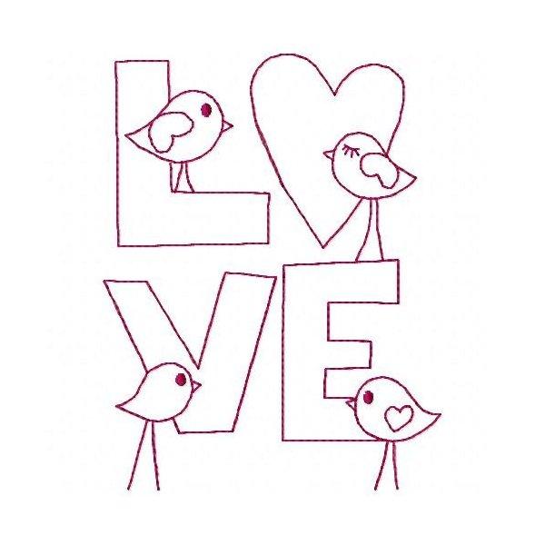 Escrita Love 2 Redwork