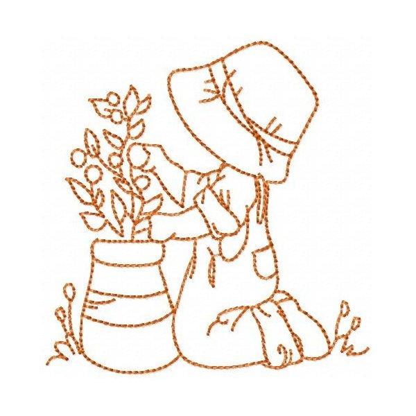 Jardineira Sunbonnet  Redwork