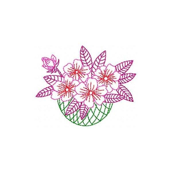 Vaso de Flores Redwork 001